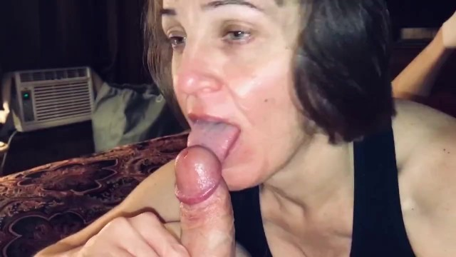 Mommy sucking cock Mature hot wife sucking our friends cock while i record and ask her questions.