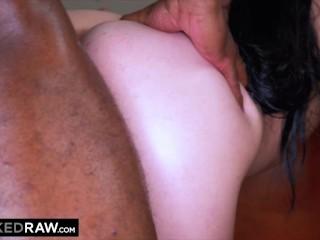 BLACKEDRAW Dark-haired hottie takes on two huge BBCs
