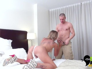 Sticking his big cock in her tranny ass hole.