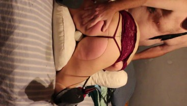 Submissive wife is tied up, whipped, and toyed while she screams and make her suck my cock