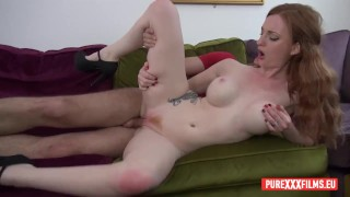 redhead housewife bored in front of tv, needs her wet pink cunt fucked and a huge creampie
