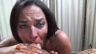 Amara Romani gives me a sloppy Blowjob with chocolate syrup
