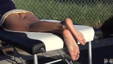 Public Voyeur Sunbathing ~ Cheerleader 'upskirt, feet, no panties'