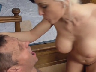 cuckold loser get mouth full spit of male sperm