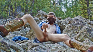 Hot Guy Fucks in Forest Hard and Fantasizes While Shooting Huge Load