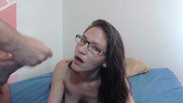 Cumshot in her glasses