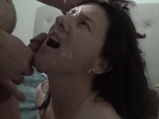 Handcuffed Chloe gets her face destroyed with cum
