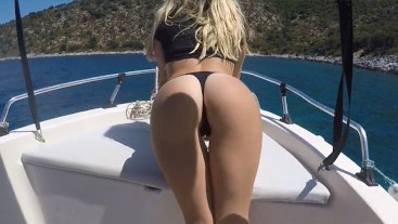 Sea, sun and boat Sex! I love sucking dick & risky doggy outdoor on vacation!