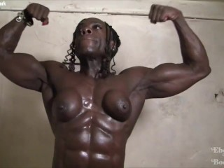 Ebony warrior with an unreal ripped physique