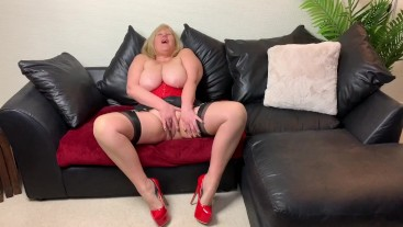 Mature Big Tit Whore in Red Stripper Heels Finger Fuck