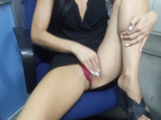 Real wife risky masturbate and has orgasm in the office
