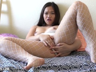 Kaylani Kao Masturbates in Fishnet Stockings