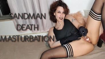 Death Sandman Cosplay Masturbation with Glass Dildo