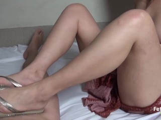Andrea with sexy flip flops sliding her feet on my dick! Trailer