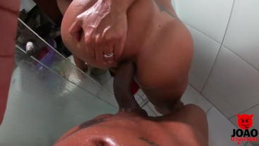 wife taking cum in pussy and ass in bathroom