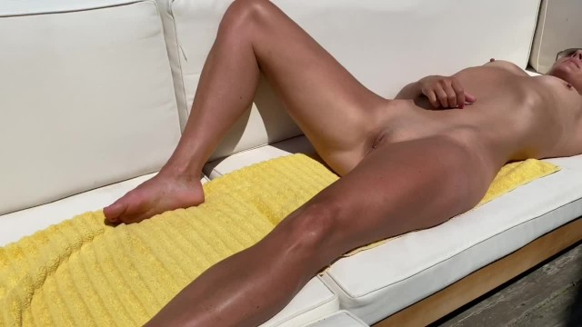 Sun tanning bikini video Petite submissive milf tanning ordered to strip and squirts in publiccumplaywithus2