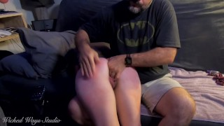 Shy girl giggles when I make her cum with the hitachi then gets spanked and fingered Aftercare