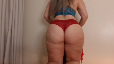 Sensualizing for you with red lingerie