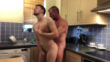 Daddy has his boy over for tea, but fucks him in the kitchen