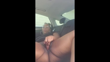Ebony Plays with Pussy - Outside Car Action Nickicakes