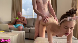 Couple fucking while their cuckold friend watches - SolaZola