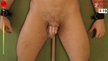 4 Orgasms in 20 MIN Challenge Anal vibrator - prostate milking anal orgasm in chastity