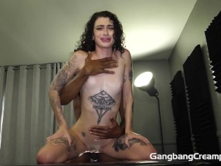 Skinny hot freaky girl takes 5 cocks