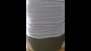 Step mom in black leggings seduced and fucked by step son in the kitchen