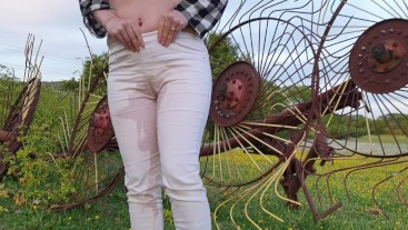 Watch me stand there and deliberately wet my white jeans again outdoors! They are so pee stained! ;)