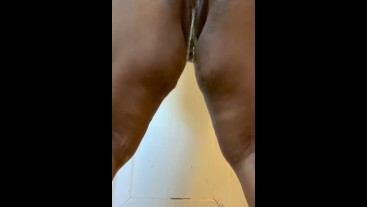 Bust on my ass and creamy ebony pussy while piss standing up.