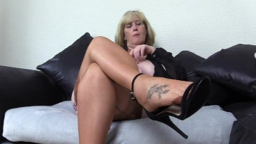 Nasty Step Mom Run wants you to  run your hands up her mature nylon legs.