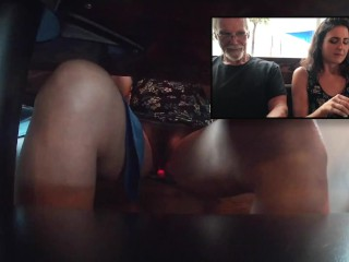 Using the remote Lush 2 Vibrator on her hairy pussy at lunch