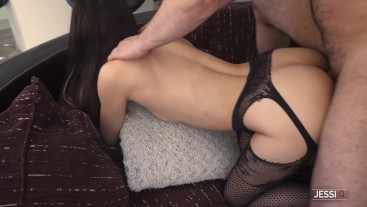 Grab my big ass and fuck me hard before I ride your cock until it cums - Jessi Q