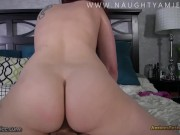 Spying on your step sister leads to you getting sucked by and fucking her hard! - Amiee Cambridge