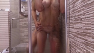 My roommate unexpectedly came to me while I was washing in the shower. She wanted my big cock