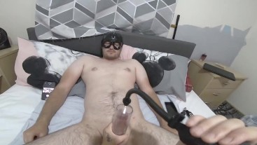making straight guy edge with prostate toy & penis pump till i cage up his cock right before he cums