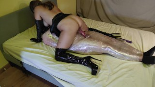 Wrapped In Tight Bondage And Fucked By Leather Goddess In Boots – Ends In Creampie