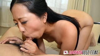 Small Tits Japanese MILF Squirts Into Glass Before Creampie