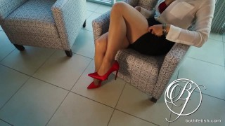 My MILF boss wants my cock, pantyhose, stiletto high heels fetish, lets fuck in the office!