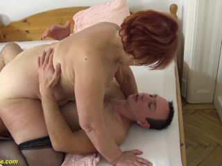 creampie with chubby 79 years old mom