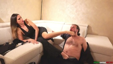 Mistress Submits The Slave. French Kisses, Socks Smelling, Foot Smelling, Foot Worship, Femdom