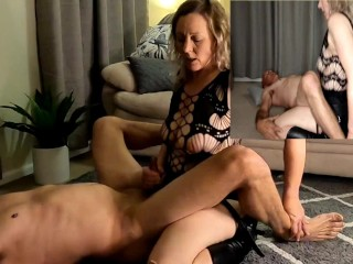 Such joy on her face when he cums intensely after hard pegging fuck - MIN MOO