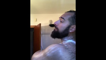 Big Italian bear soaps his hairy body in the shower after workout