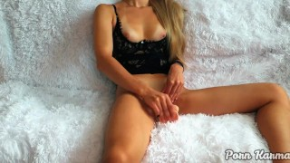 Hot blonde is not at all shy about jerking off on camera