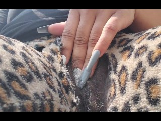 Ebony bbw playing with pussy outside trying not to get caught