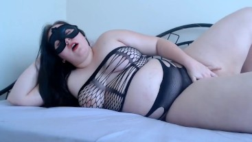 PAWG Masked Chubby Beauty Masturbating to Orgasmin Multiple Postions!