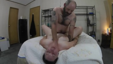 Milf gets choked and squirts.