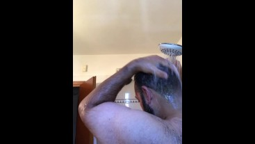 Big bearded Italian daddy bear washes very hairy body in shower after sweaty workout