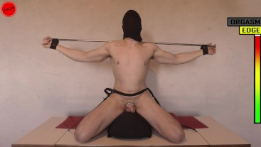 Sybian: Restrained Edging and Denial in Chastity Cage Anal Play Prostate Stimulation