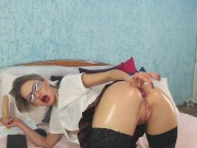 Hot sexy russian teacher in stockings with a oiled ass fucks pussy with a dildo and deep suction